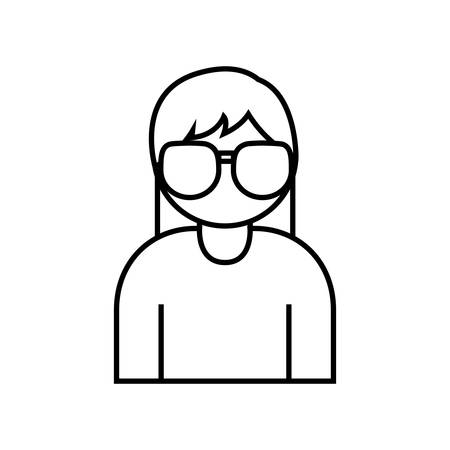 assortment: woman with glasses icon over white background vector illustration