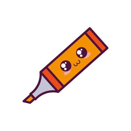 kawaii highlighter pen icon over white background vector illustration Illustration