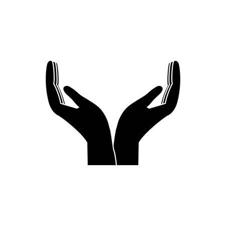open hands  icon over white background vector illustration
