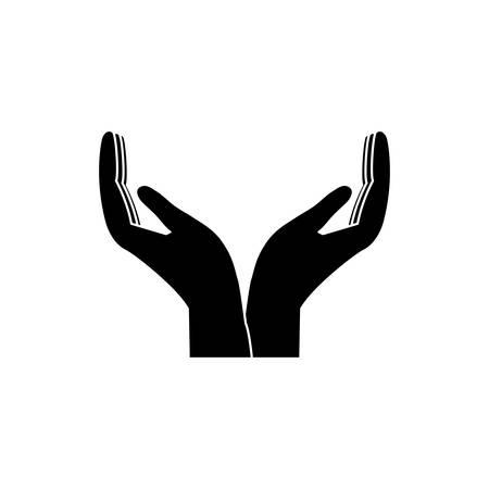 open handen pictogram over witte achtergrond vectorillustratie