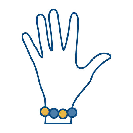Hand with a bracelet icon over white background vector illustration