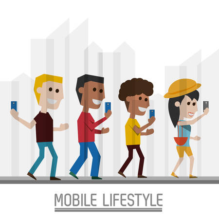 using smartphone: People with smartphone in the hand and lifestyle