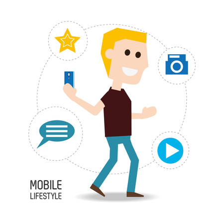 using smart phone: man with smartphone in the hand and technological apps vector illustration Illustration