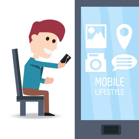 smart man: man seated with smartphone in the hand and selecting app vector illustration