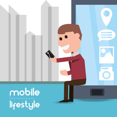 man seated with smartphone in the hand and selecting app vector illustration