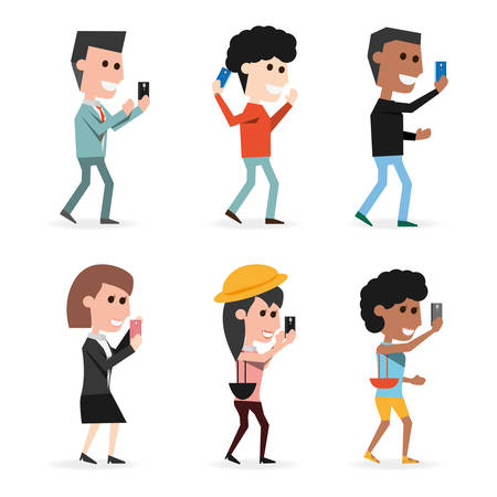 smart man: set people with technology smartphone in the hand vector illustration Illustration