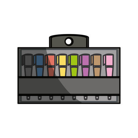 pen and marker: Markers in box product icon vector illustration graphic design