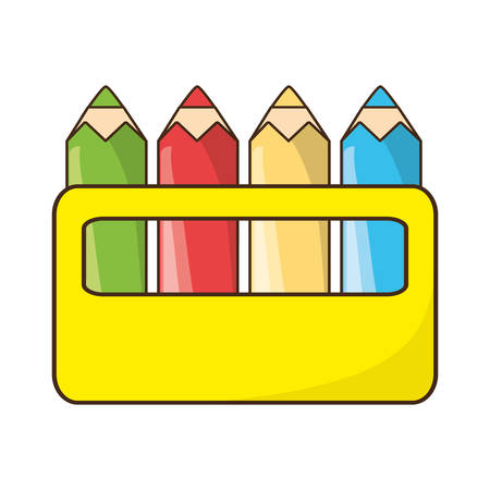 Pencil colors packaging icon vector illustration graphic design