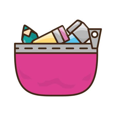 pen and marker: Pencils case cartoon icon vector illustration graphic design Illustration