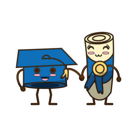 science class: Graduation hat and diploma kawaii cartoon icon vector illustration graphic design