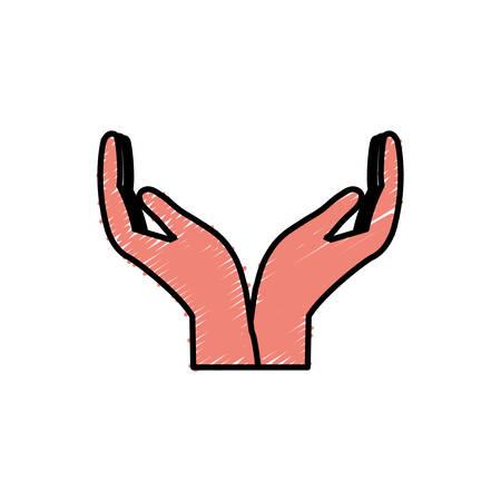 Icône de mains ouvertes sur illustration vectorielle fond blanc Banque d'images - 81771658