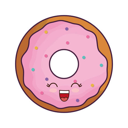 kawaii sweet donut icon over white background vector illustration
