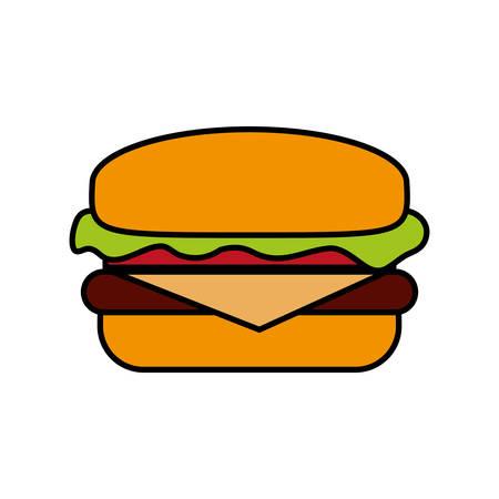 Hamburguesa icono sobre fondo blanco diseño colorido ilustración vectorial Ilustración de vector