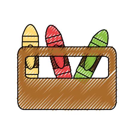 Cute crayons cartoon icon vector illustration graphic design