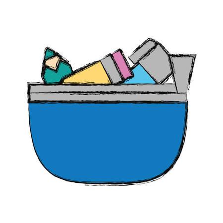school pencil case icon vector illustration graphic design Illustration