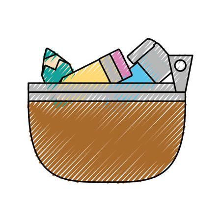 pencil case: school pencil case icon vector illustration graphic design Illustration