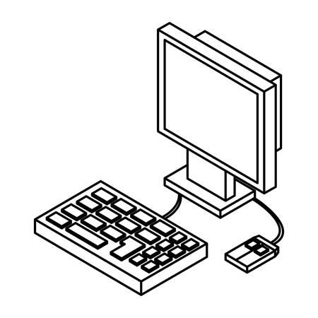 Desk computer 3D icon vector illustration graphic design Ilustração