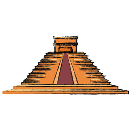 Mayan pyramid monument icon vector illustration graphic design