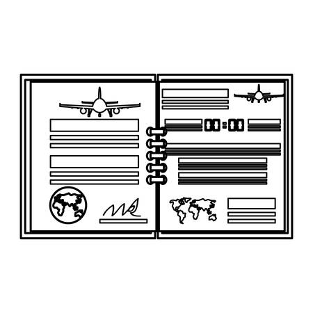 Flug-Log-Buch-Symbol Vektor-Illustration Grafik-Design