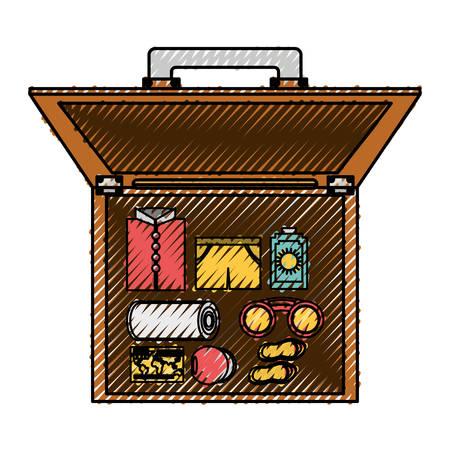 haversack: Vintage travel suitcase icon vector illustration graphic design Illustration
