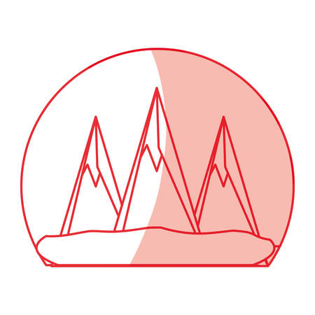 Mountains peaks landscape icon vector  illustration design