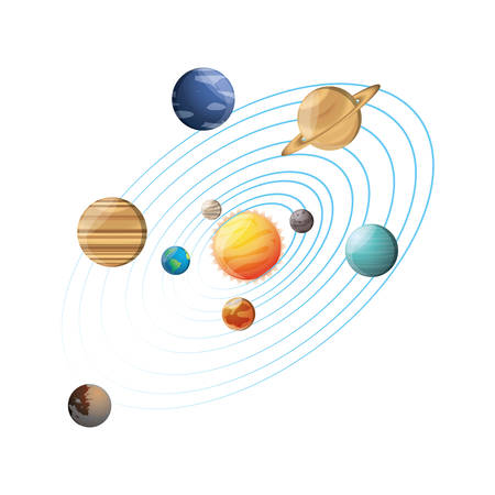 Solar system planets icon vector illustration graphic design