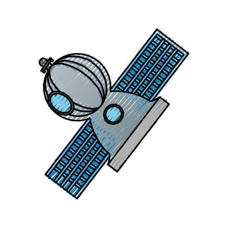 wireless signal: Satellite spaceship technology icon vector illustration graphic design Illustration