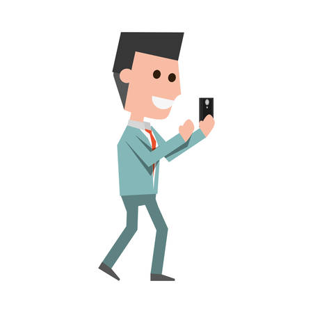 Young man with smartphone cartoon icon vector illustration graphic design Illustration