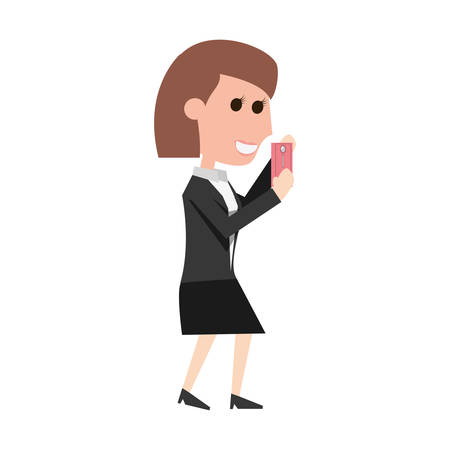 smart man: Young woman with smartphone cartoon icon vector illustration graphic design Illustration