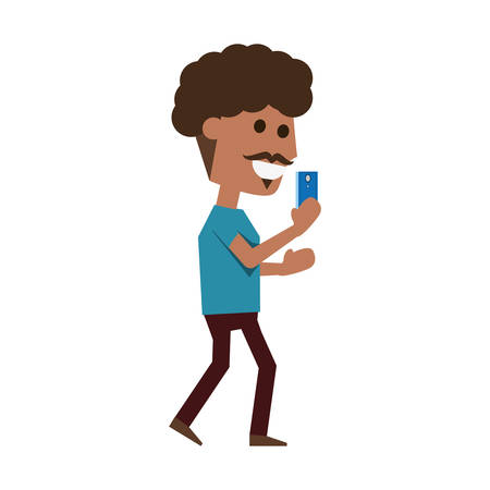 reading app: Young man with smartphone cartoon icon vector illustration graphic design Illustration
