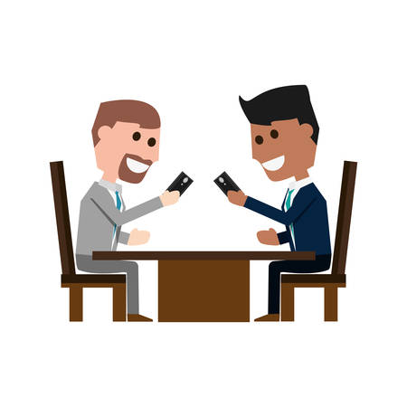 using smart phone: Guys with smartphones cartoon icon vector illustration graphic design Illustration