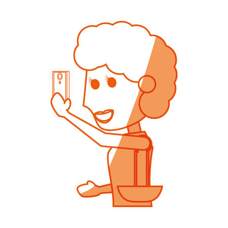 viewing: Young woman with smartphone cartoon icon vector illustration graphic design Illustration