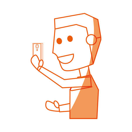 using smartphone: Young man with smartphone cartoon icon vector illustration graphic design Illustration