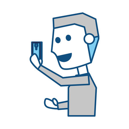 smart man: Young man with smartphone cartoon icon vector illustration graphic design Illustration
