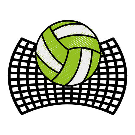 volleyball ball and net icon over white background vector illustration