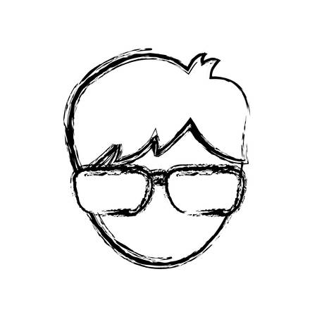 man with glasses icon over white background vector illustration Illustration
