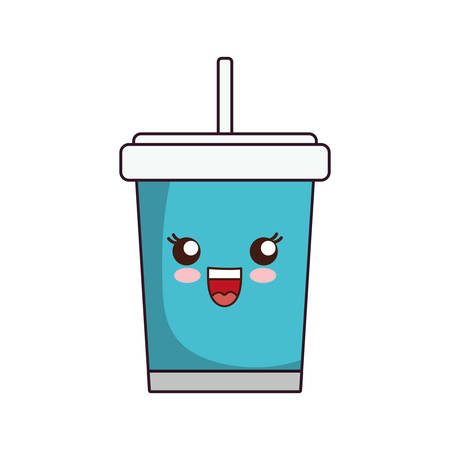 kawaii soft drink cup icon over white background vector illustration