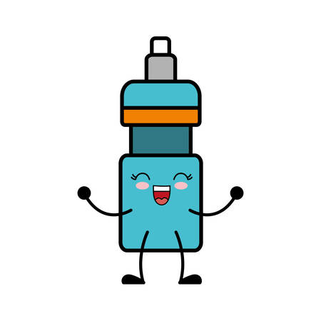 kawaii water bottle icon over white background vector illustration