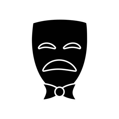 viewing: sad theater mask icon over white background vector illustration Illustration