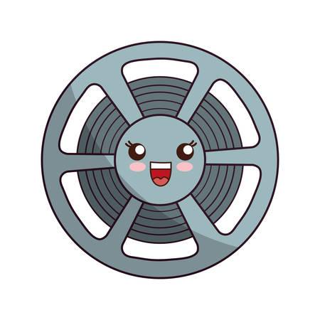 kawaii cinema film reel icon over white background vector illustration