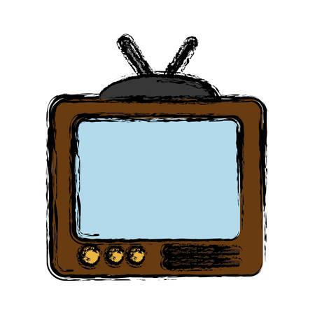 vintage television icon over white background vector illustration Illustration