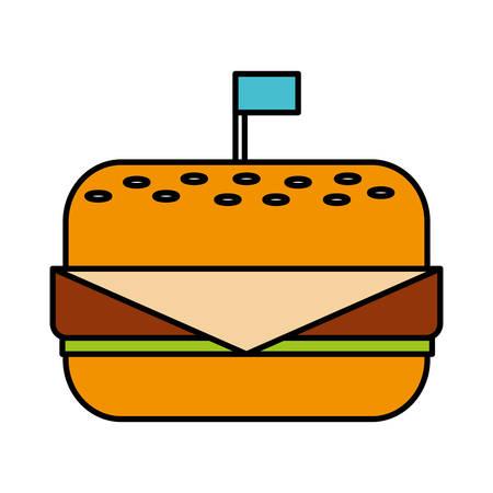 hamburguesa icono sobre fondo blanco ilustración vectorial
