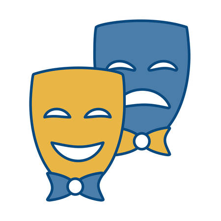 viewing: Theater masks icon over white background vector illustration