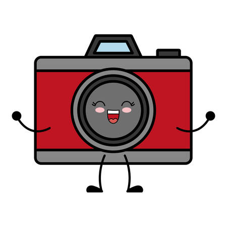 kawaii photographic camera icon over white background vector illustration