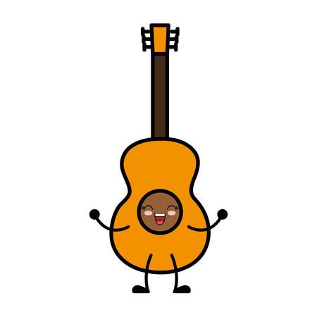 kawaii guitar icon over white background vector illustration Illustration