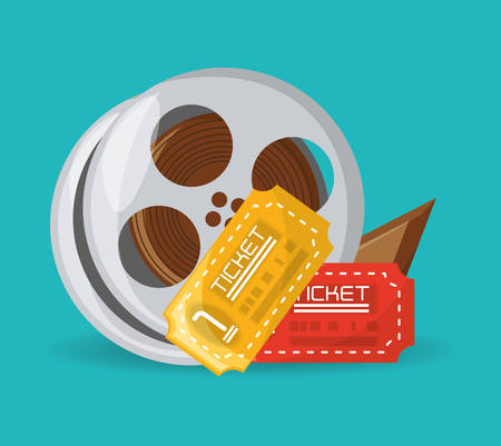 Reel filmstrip with tickets to short film vector illustration