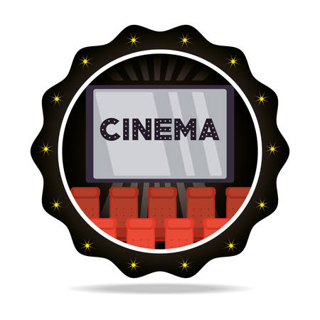 emblem cinema short film with chairs vector illustration Illustration