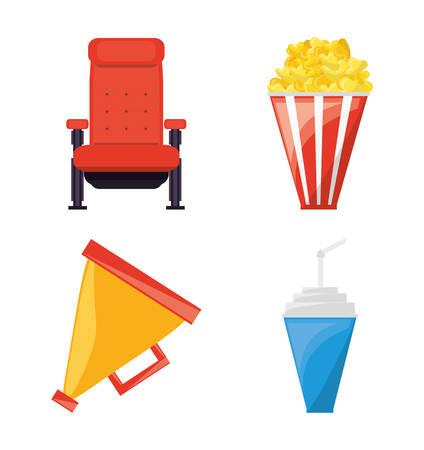 Set cinema and short film studio tools vector illustration
