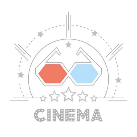3d glasses to cinema short film vector illustration