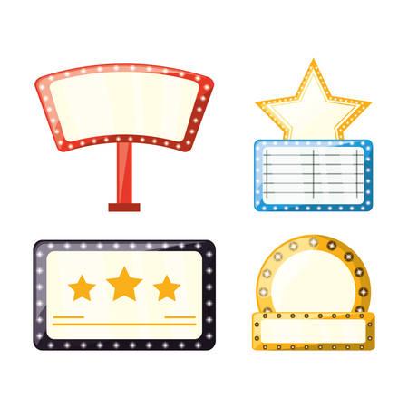set retro cinema production emblems vector illustration